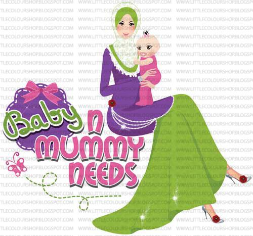 Logo nakkan kartun pompan pegang baby. Kaler tema purple dan hijau.