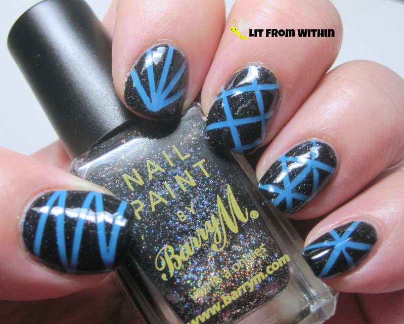 Barry M. Black Multi Glitter over Impala Aqua Fresca in a striping tape mani