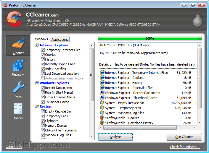 Download ccleaner filehippo k lite
