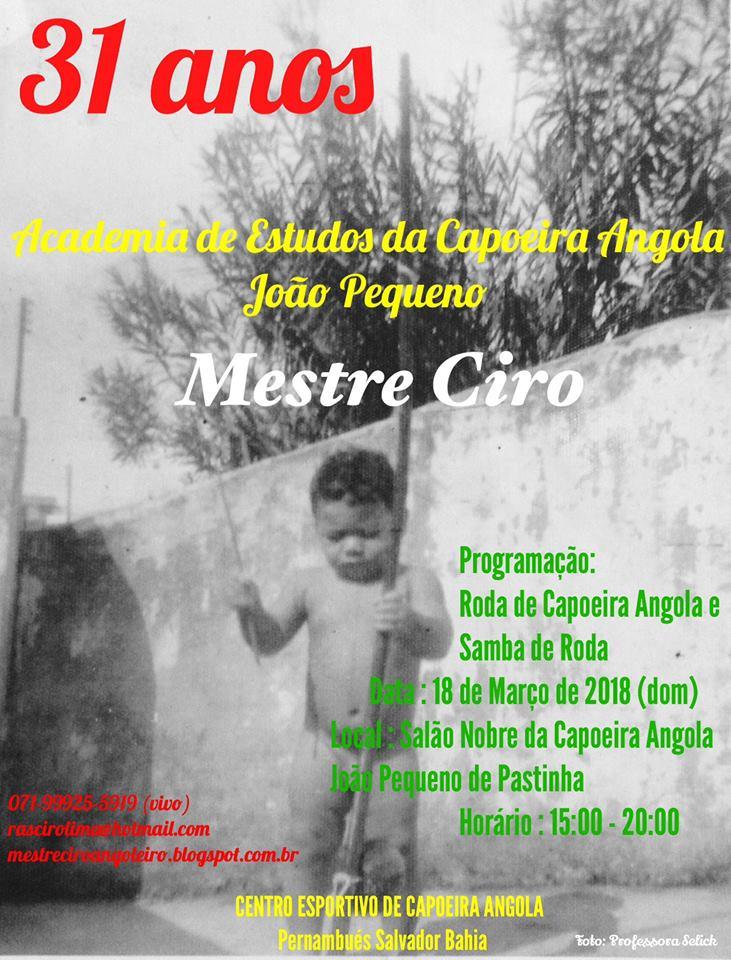 EVENTO DE CAPOEIRA ANGOLA CON EL MESTRE CIRO
