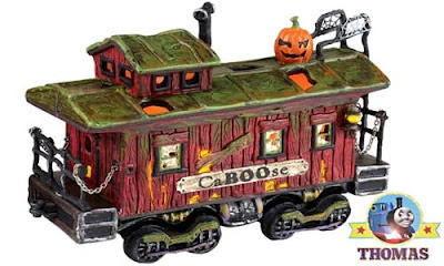 Ornamental Ceramic Halloween Railroad Set Snow Village Department 56 Haunted Rails Caboose Brakevan