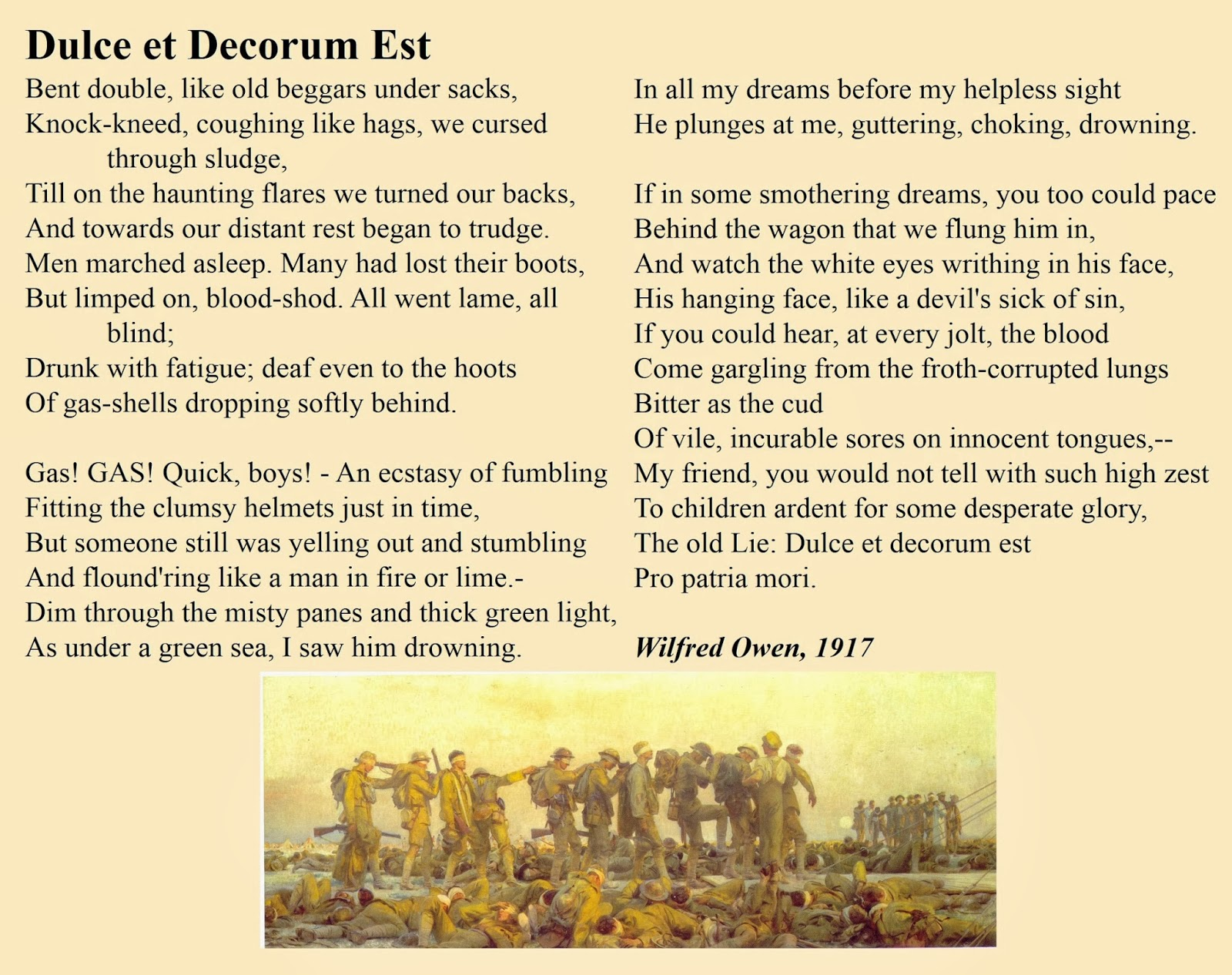 essay on dulce et decorum Keywords: dulce et decorum est wilfred owen wilfred owen analysis dulce et decorum est is a famous anti-war poet written by wilfred owen in 1917, during the wwi it portrays war as a brutal and dehumanizing experience by utilizing a number of horrific, gruesome imageries effectively this poem is.