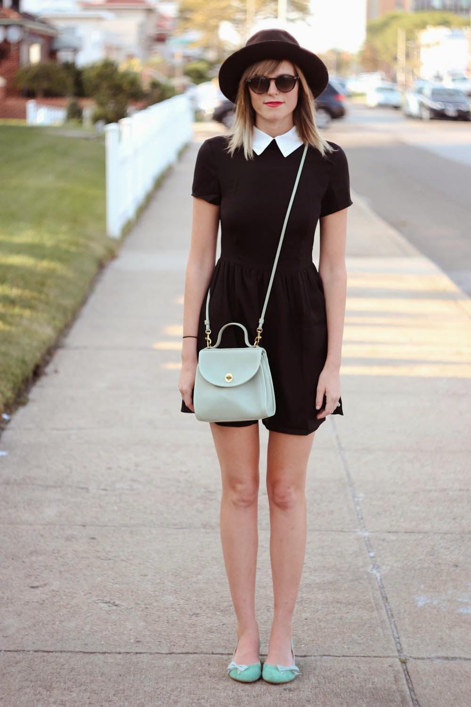 romwe dress, white collar, mint coach bag, nyc vintage fashion, long beach ny