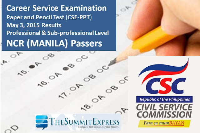 May 2015 Civil service exam (CSE-PPT) results Manila (NCR) Passers List