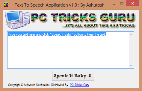 Text To Speech App By PC Tricks Guru