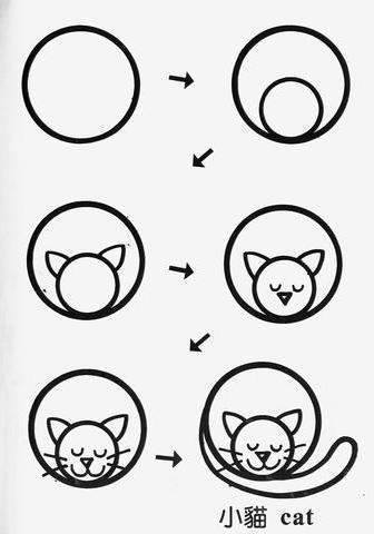 draw cat cartoon tutorial step by step for kids