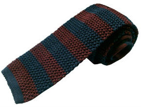 Nick Bronson Stripe Knitted Tie - 100% Silk - Made In italy