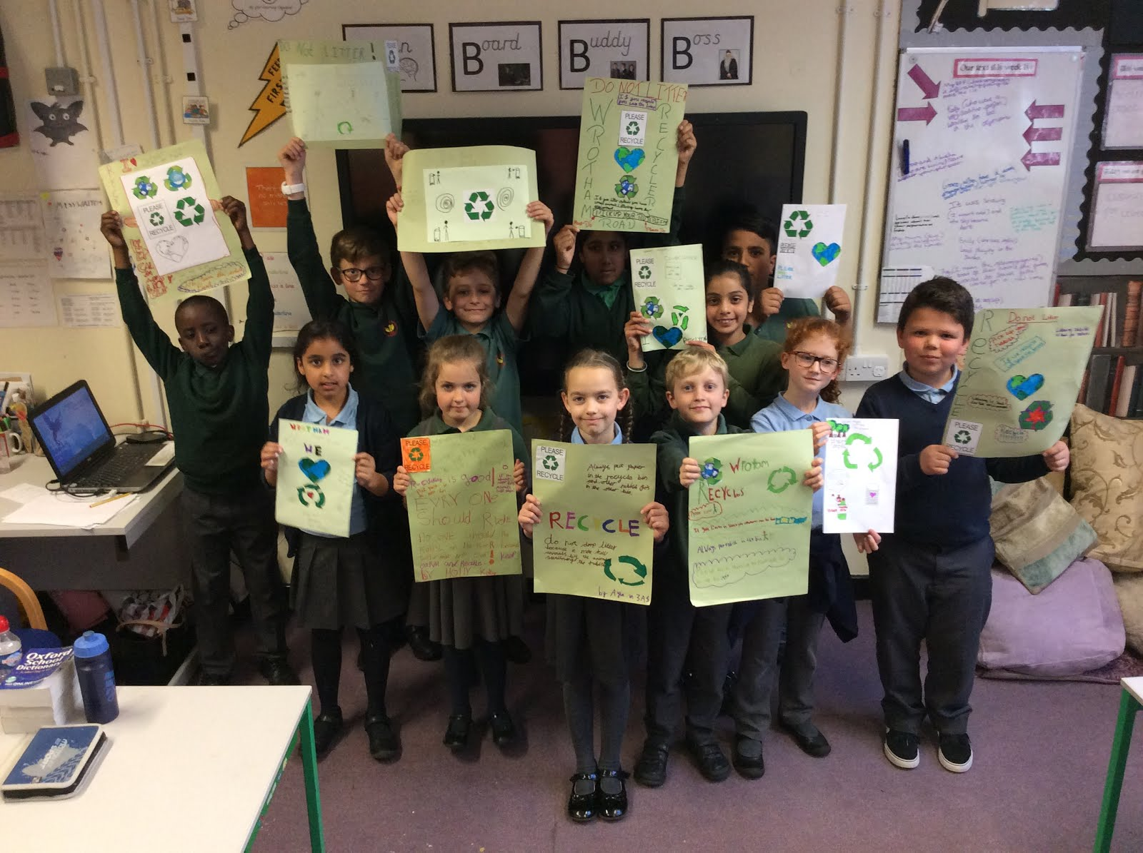 Eco counsellors with their recycling posters