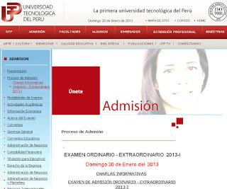Resultados Ingresantes Examen 2014 I UTP Lima 27 de Abril