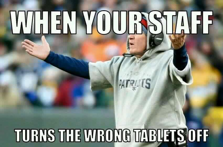 #patriots #nfl #tablet #BillBelichick.- when your staff turns the wrong tablets off