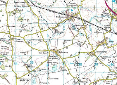 Ordnance Survey map snip showing Bishopton centre with Pitfield Farm south, Little Stainton and Elstob north, Redmarshall and Stockton on Tees east.
