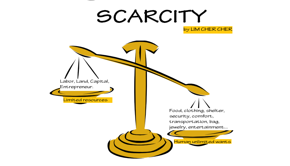 economic scarcity and finite resources For all people, the basic economic problem is meeting needs given a finite amount of resources with which to accrue those needs scarcity underscores the distinction between what people want and what they truly need to survive because human wants (not needs) exceed the capacity of people to produce what is wanted, there is a scarcity of some goods or commodities.