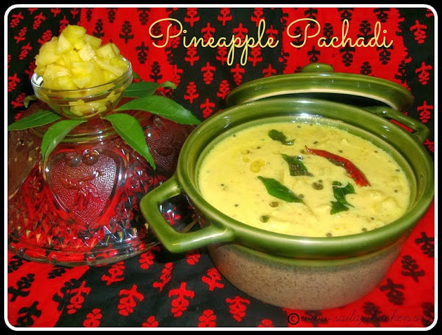 image of Pineapple Pachadi Recipe /Kerala Pineapple Pachadi Recipe / Kaithachakka Pachadi Recipe