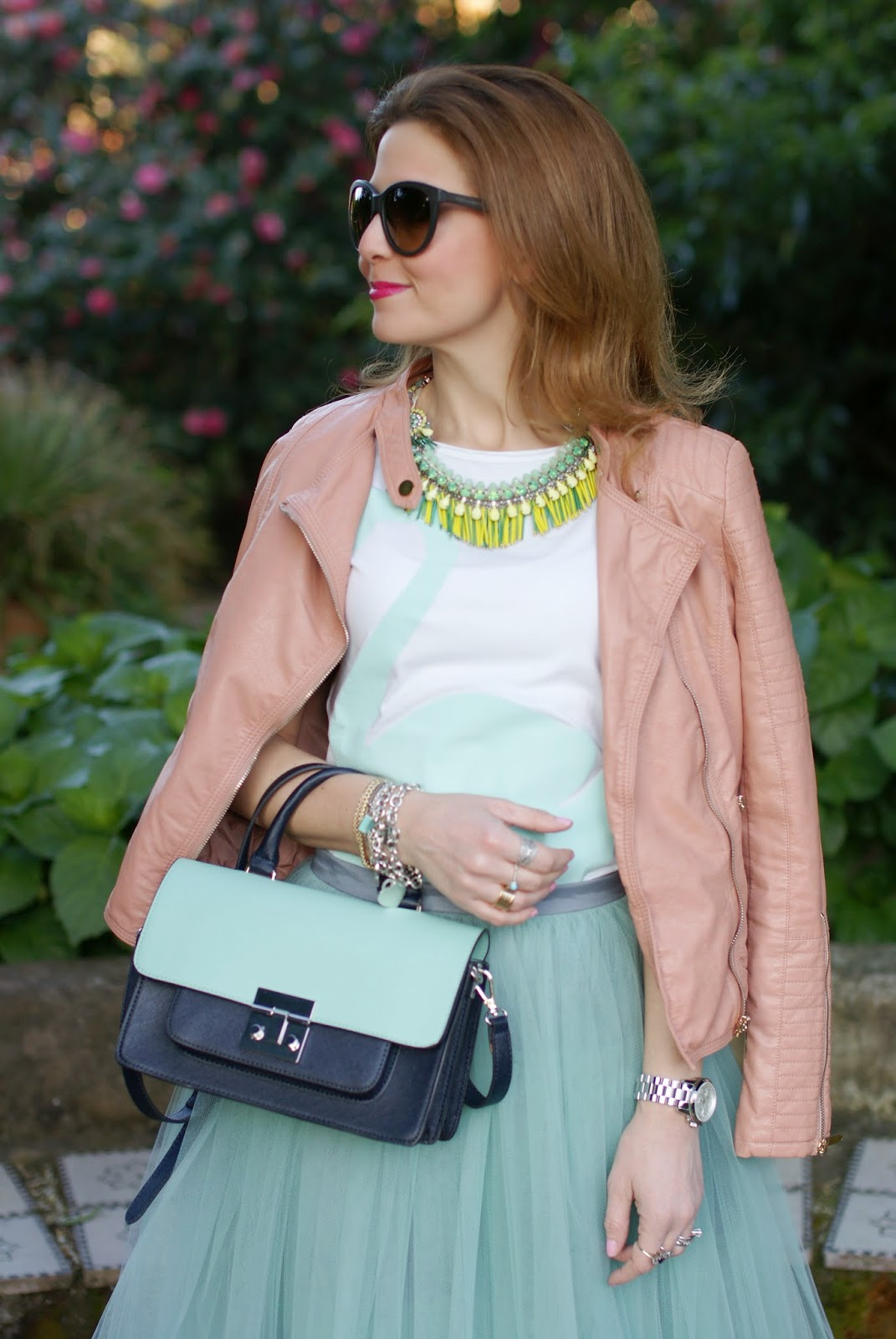 midi tulle skirt, mint tulle skirt, Sodini necklace, Miu Miu inspired bag, Fashion and Cookies, fashion blogger