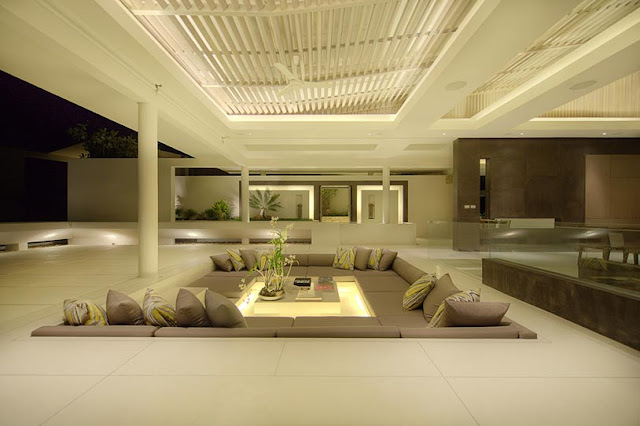 Picture of large terrace at night