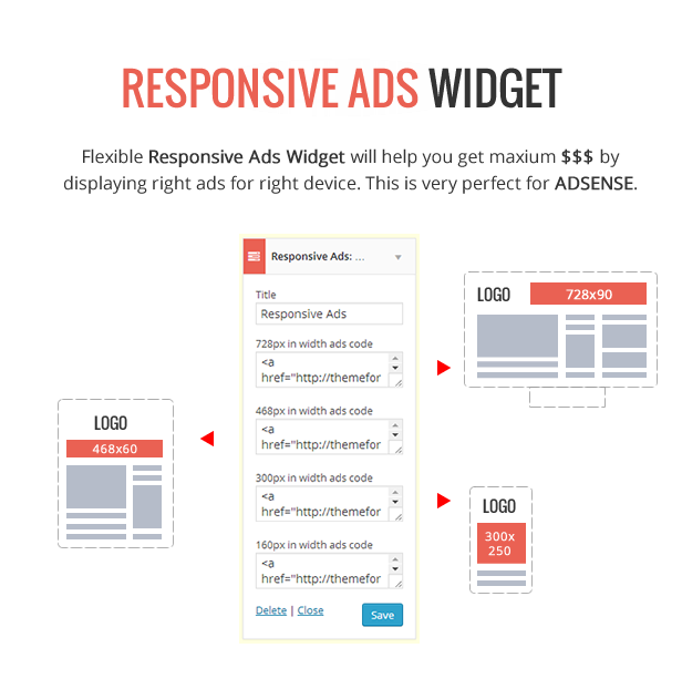 Responsive Ads Widget - Adsene Optimized - Delipress - Magazine and Review WordPress Theme