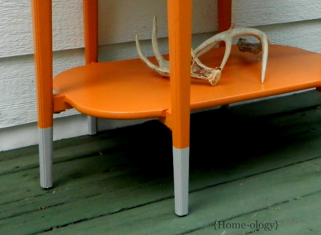paint dipped table in grey and orange