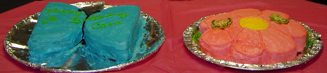 Blue Butterfly Cake and Pink Flower Cake Together