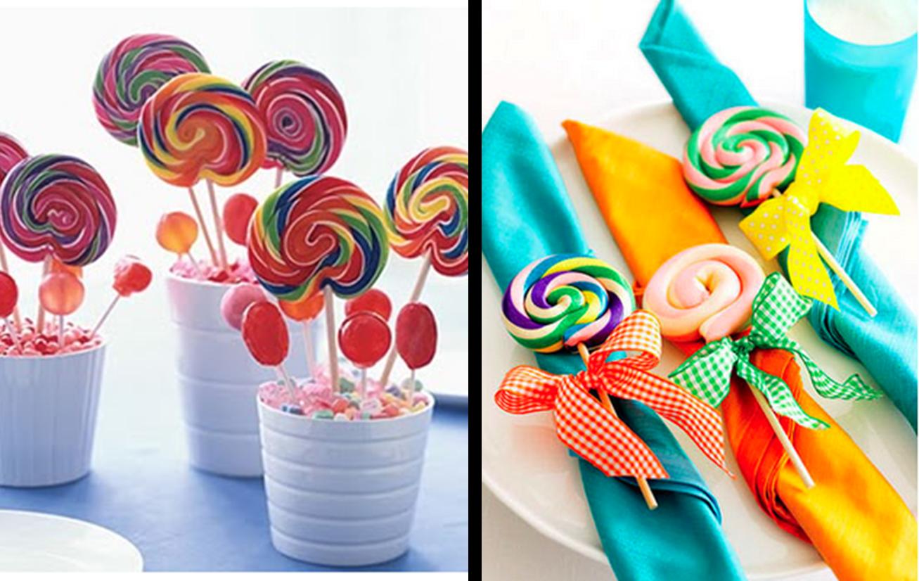 Decoraci n f cil hoy decoramos con piruletas y bastones de caramelo - Decoracion con caramelo ...