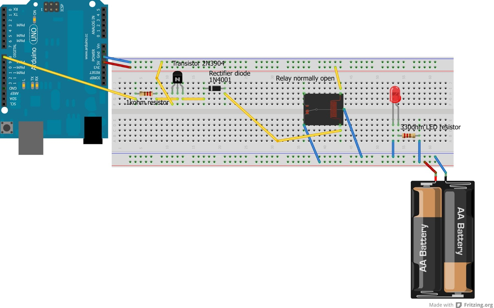 arduino how to wire a relay codeproject rh codeproject com arduino relay wiring diagram arduino relay shield wiring