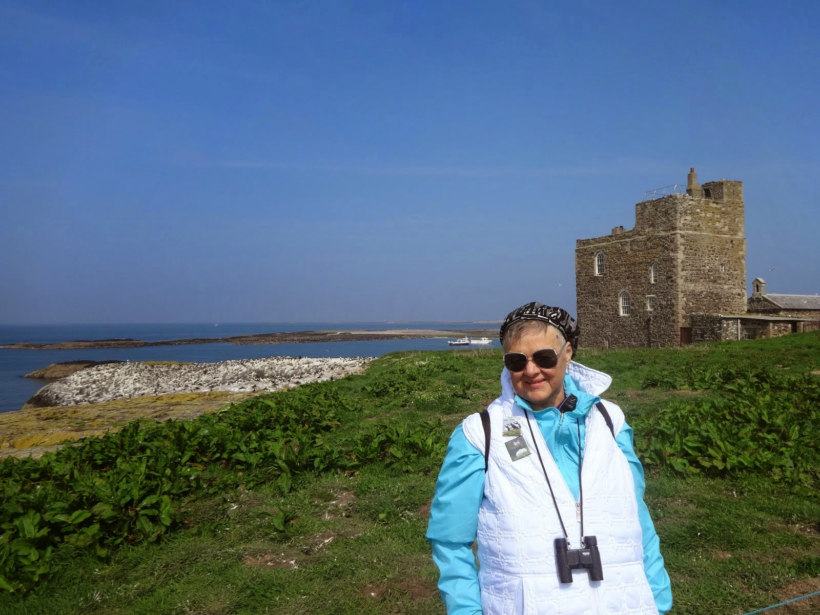 Mom walking amongst the land of the puffins