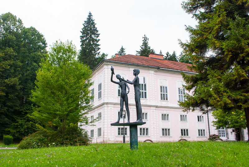 statues in the park of ljubljana, slovenia