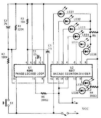 4046 PLL bassed A roulette wheel electronic circuit with explanation