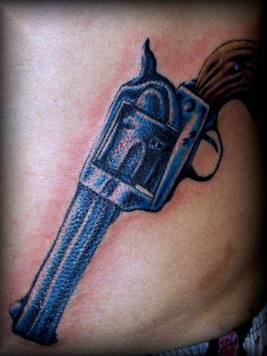 gun pelvic tattoo - 382×510