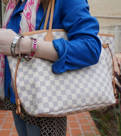 Away From Blue Louis Vuitton MM Damier Azur Neverful with bracelet stack