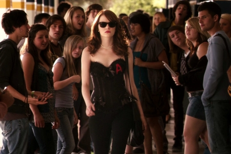 Emma Stone adorns her wardrobe with an updated Scarlet Letter in EASY A, a latter-day send-up of Nathaniel Hawthorne's classic