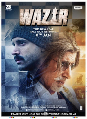 Poster Of Bollywood Movie Wazir (2016) 100MB Compressed Small Size Mobile Movie Free Download