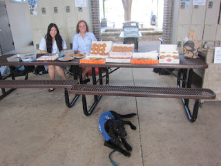We had a huge amount of donuts and some bagels for the break sale. Raichell and  Carly helped set up.