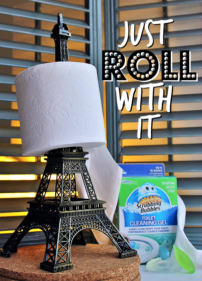 Use a funky piece of statement home decor to liven up your restroom. Even an elephant's trunk will double as a toilet paper holder! #SaveWithBubbles and make your bathroom sparkle for a few dollars with Dollar General, Scrubbing Bubbles®, and these simple DIY tips. #ad