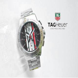 jam tangan keren TAGHEUER CALIBRE S SILVER RED