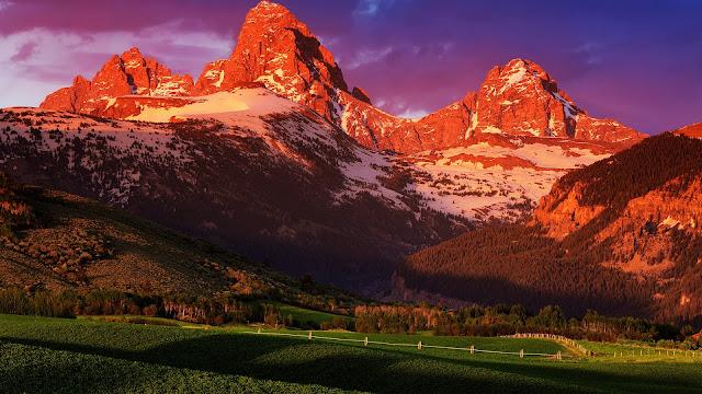 USA Wyoming Grand Teton National Park summer sunset scenery HD Wallpaper