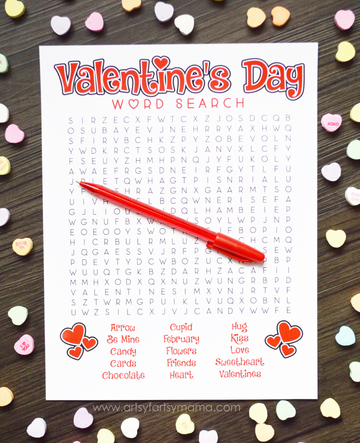 Free Printable Valentine's Day Word Search at artsyfartsymama.com #ValentinesDay #printable