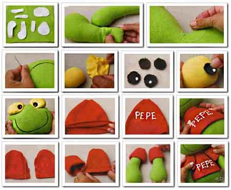 Como hacer Sapo Pepe en tela paso a paso