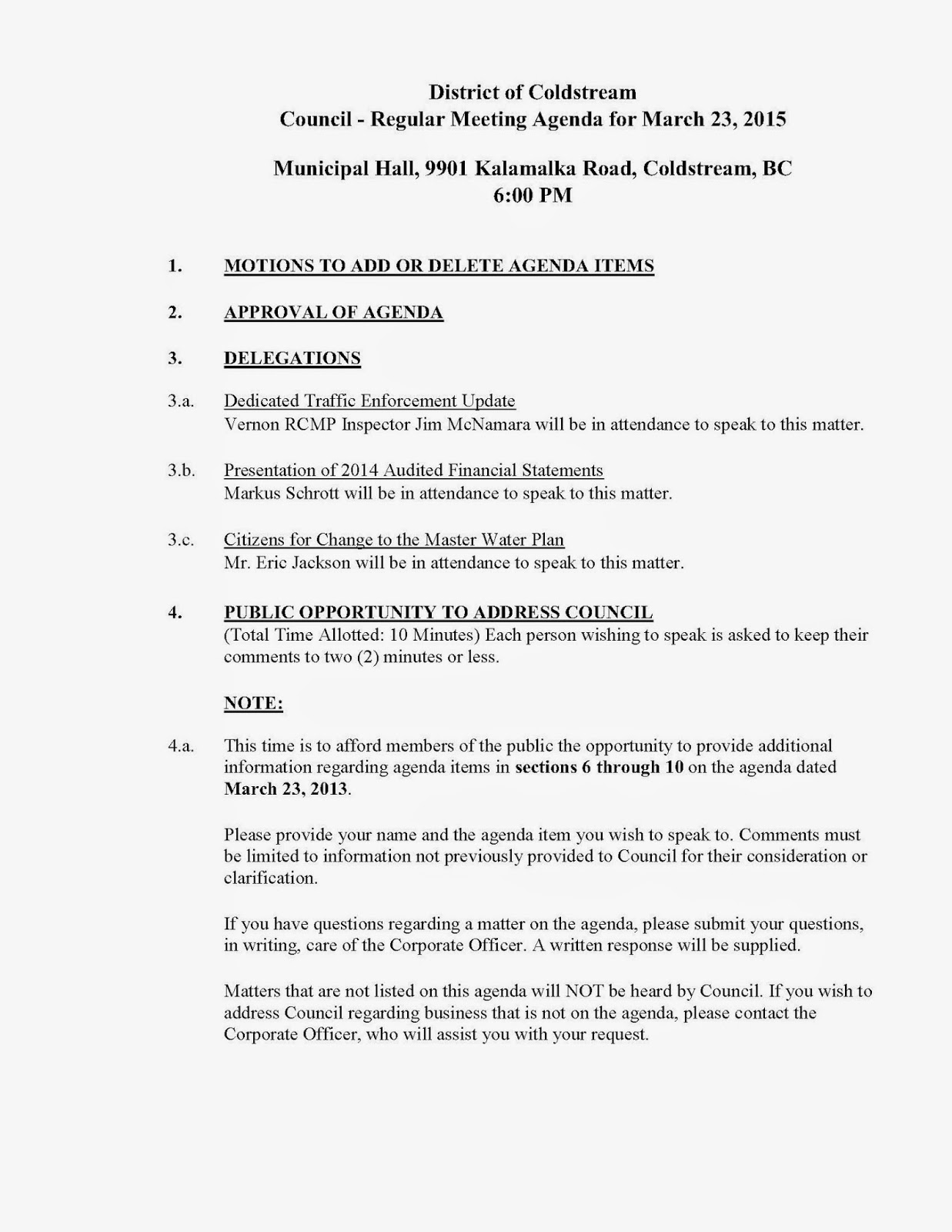 Coldstream Council Meeting - March 23, 2015