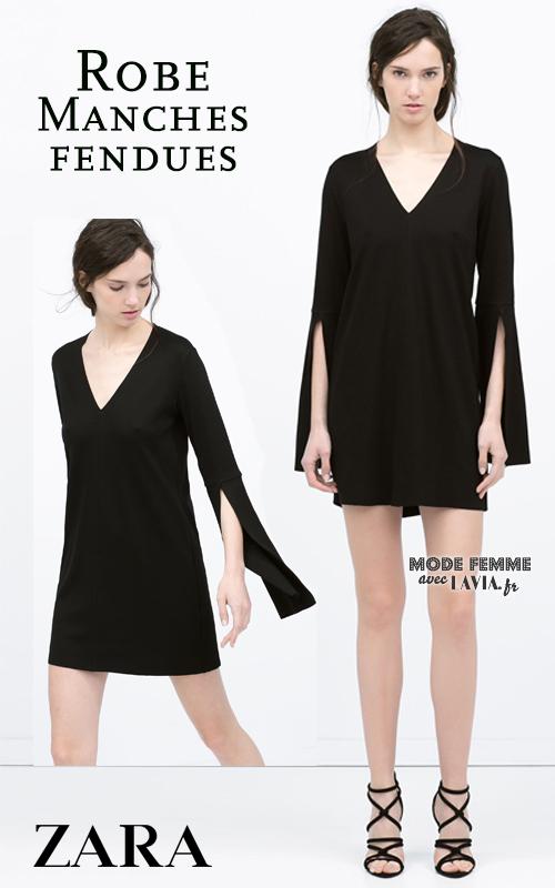 Robe courte noire manches fendues