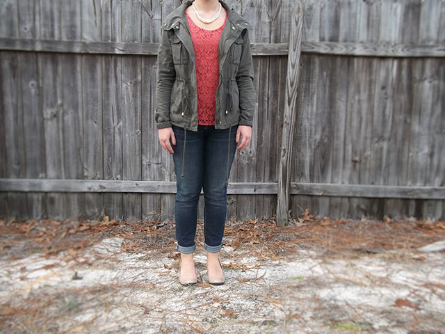 military jacket orange lace top skinny jeans nude heels pearls outfit inspiration casual