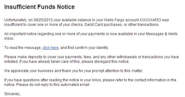 phishingpier  insufficient funds notice