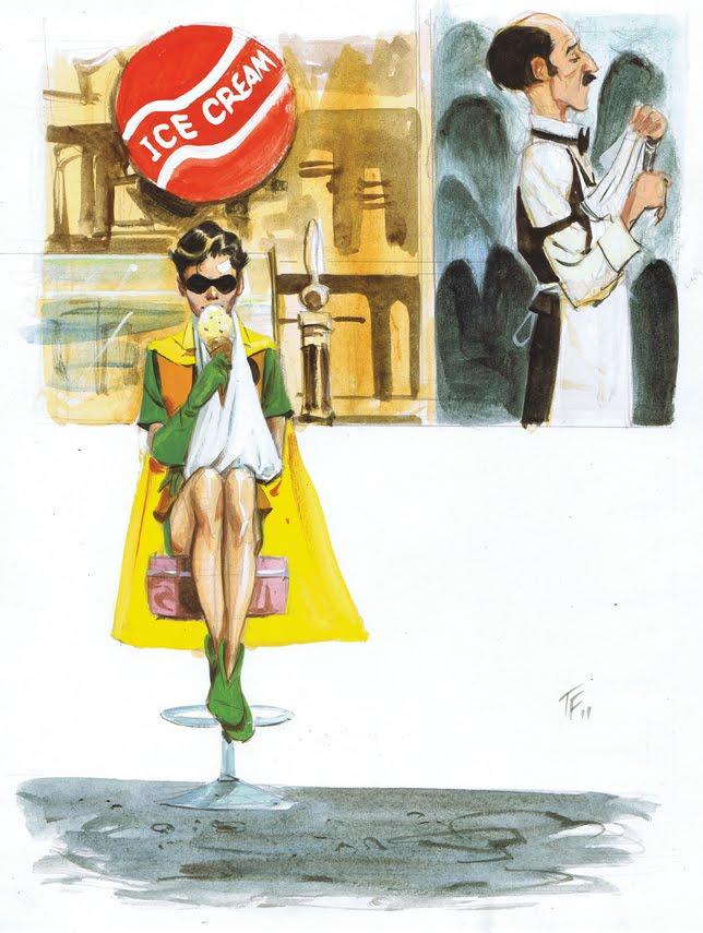 Robin chupando sorvete.