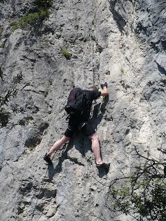 Am Einstieg des Rino-Pisetta-Steiges geht es gleich ordentlich zur Sache