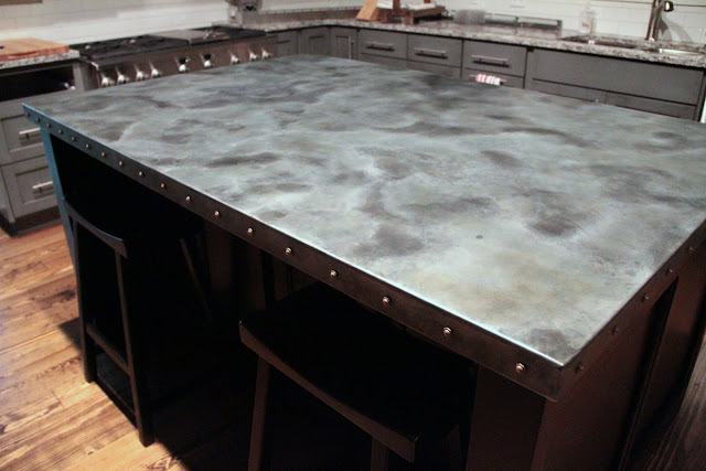 1000 images about zinc countertop on pinterest for Zinc kitchen countertop