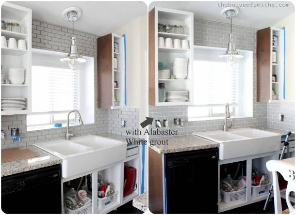 carrara marble backsplash with gray grout a kitchen re style part 4 cabinets backsplash
