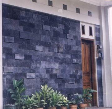 rumah minimalis dinding batu alam