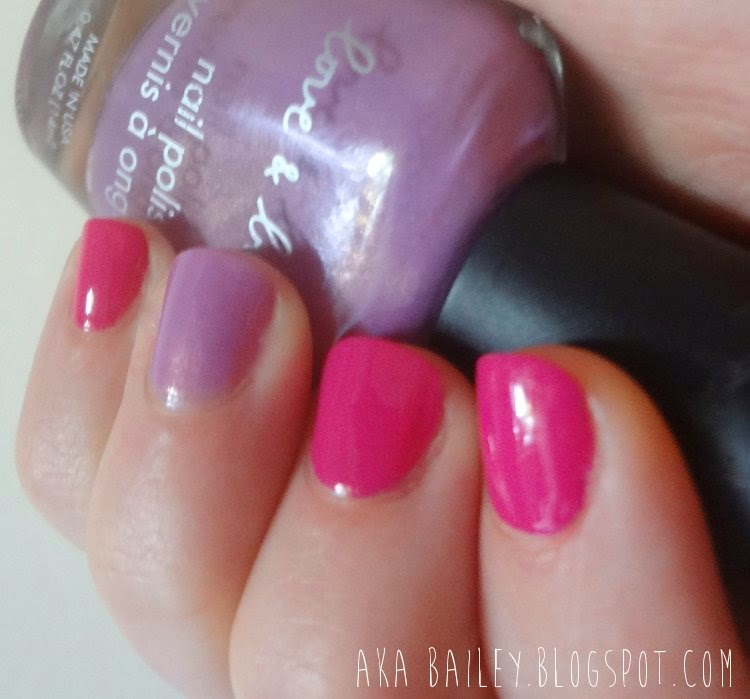 Fuchsia and orchid colorblock nails, with Revlon and Love & Beauty