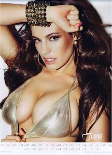 Kelly Brook wearing a gold bikini