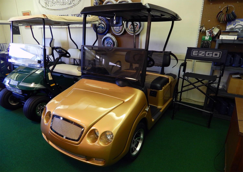 Bentley Continental GT II E-Z-GO golf cart at West Coast Golf Cars on woody golf cart, patriots golf cart, footprint golf cart, ranger golf cart, wooden golf cart, walsh golf cart, van golf cart, r1 golf cart, short golf cart,
