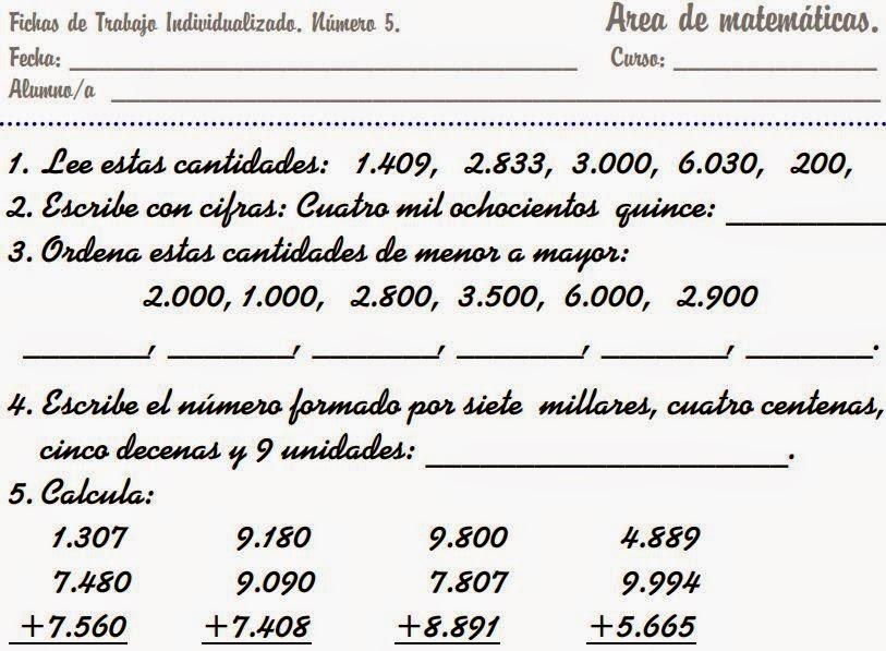 Ejercicios De Matematicas Cuarto De Primaria | Descargar Ficheros De Matematicas De Primero A Cuarto De Primaria